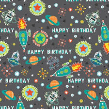 birthday gift wrap blast space rockets gift wrap flat sheet 24 x 6