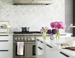 innovative decoration herringbone marble backsplash a kitchen