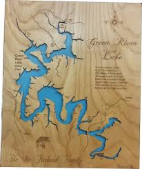 map kentucky lakes rivers green river lake kentucky laser engraved map