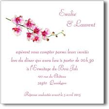 texte invitation mariage carte orchidée invitation mariage coordonnée au faire part