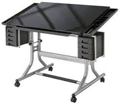 Artists Drafting Table Craftmaster Ii Black Glass Drawing Table