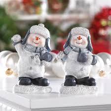 snow fight buddies snowmen figurines decor p u0026j home and garden