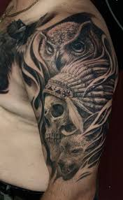 Wolf Indian Tattoos - owl with dangerous wolf and amazing skull half sleeve