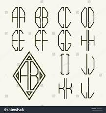 Letter Monogram Set 1 Templates Letters Create Twoletter Stock Vector 265057421