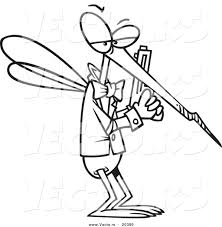 vector of a cartoon mosquito agent coloring page outline by