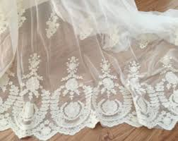 Lace Fabric For Curtains Eyelet Cotton Lace Fabric In Off White Retro Hollowed Flower