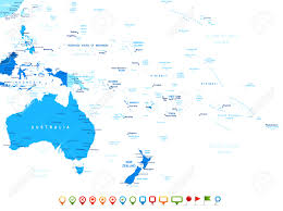 French Polynesia Map Australia And Oceania Map And Navigation Icons Illustration