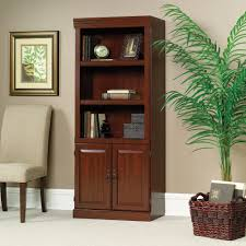 Sauder Bookcase Cherry by Awesome Wood Bookcase With Glass Doors Bookcases Black Wood