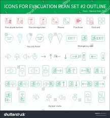 Fire Evacuation Route Plan by Fire Safety Icons Evacuation Plan Outline Stock Vector 408170275