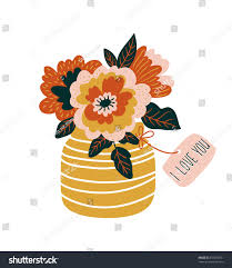 hand drawn flowers vase tag i stock vector 538270081 shutterstock