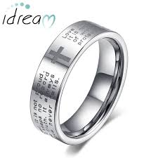 wedding band for holy bible and cross laser engraved tungsten wedding bands flat