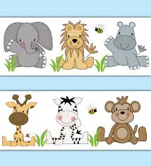 SAFARI ANIMAL WALLPAPER Border Decal Jungle Nursery Wall Stickers - Kids room wallpaper borders