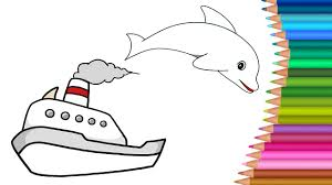 boat coloring pages colours for kids kids drawing colors for