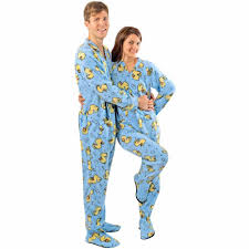 blue rubber duck footed pajamas with drop seat for adults pajama