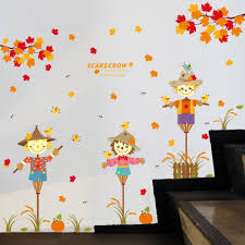 cute scarecrow wallpaper diy falling maple leaves kids bedroom wall sticker home decor cute