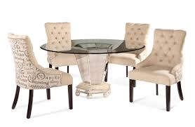 reflections dining set with script fabric chairs antique silver