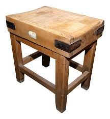 antique english butcher block on stand chairish