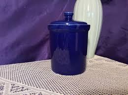 cobalt blue kitchen canisters vintage pottery cobalt blue kitchen canister with on it s base