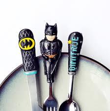batman silverware set kids gift for boy unique cutlery black