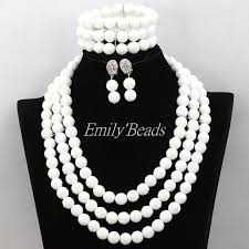 white necklace sets images 2016 pretty african wedding plain white carve coral beads necklace jpg