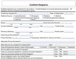 Comfort Keeprs Comfort Keepers Job Application Printable Job Employment Forms