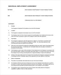 sample individual employment agreement 9 documents in pdf words