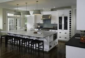 spectacular large kitchen island with stools also black chalkboard