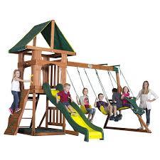 backyard discovery slide amazon com backyard discovery santa fe all cedar wood playset