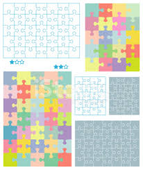 jigsaw puzzle blank templates and pastel colors patterns stock