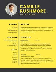 yellow grid graphic design resume templates by canva