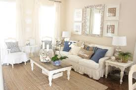 blue and white living room and dining room starfish cottage