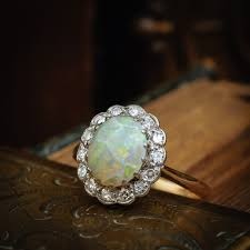 turquoise opal engagement rings magical vintage opal and diamond cluster ring u2013 fetheray