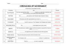 3 branches of government word scramble 6th 8th grade worksheet