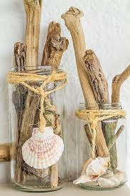 beach home decorating ideas glass jars thread seashells coastal