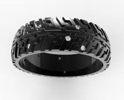tire wedding ring black gold tire tread wedding band for auto fans vidar