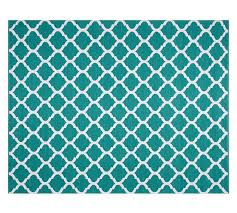 becca tile reversible indoor outdoor rug teal pottery barn