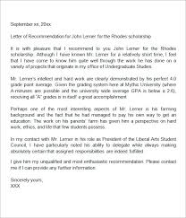 letter of recommendation sle letter of recommendation template for scholarship from employer 28