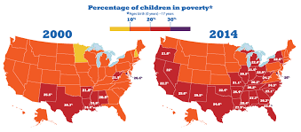Map Of Orange County Ca Growth In Child Poverty Mapped By County In The 50 States