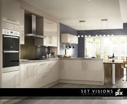 modern cream kitchen modern gloss cream cgi kitchen roomset by set visions 3d artist