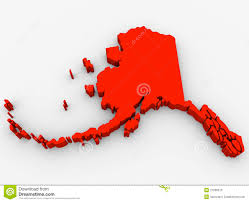 Alaska State Map by Alaska Red Abstract 3d State Map United States America Stock