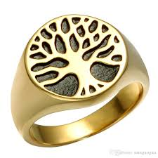 silver skeleton ring holder images Punk gold color titanium stainless steel wisdom tree tree of life jpg