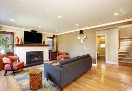open concept living room in american craftsman style house with