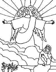 kids drawing angel appears to mary coloring pages bulk color