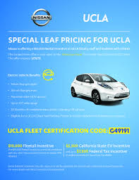 nissan california 2017 nissan offering bruins 10k toward leaf purchase