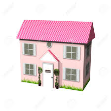 3d digital render of a cute pink cardboard house isolated on