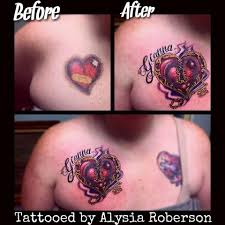 cover up of old heart tattoo with a cool heart lock key and name