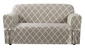 Patio Chair Cushion Slipcovers by Sure Fit Lattice Box Cushion Loveseat Slipcover U0026 Reviews Wayfair