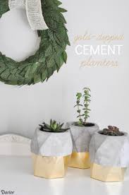 diy pot idea gold dipped cement planter pot darice