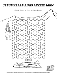 luke 5 jesus heals the paralytic bible mazes can your kids find