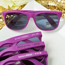 wedding favor sunglasses purple sunglass favors with personalized stickers customized